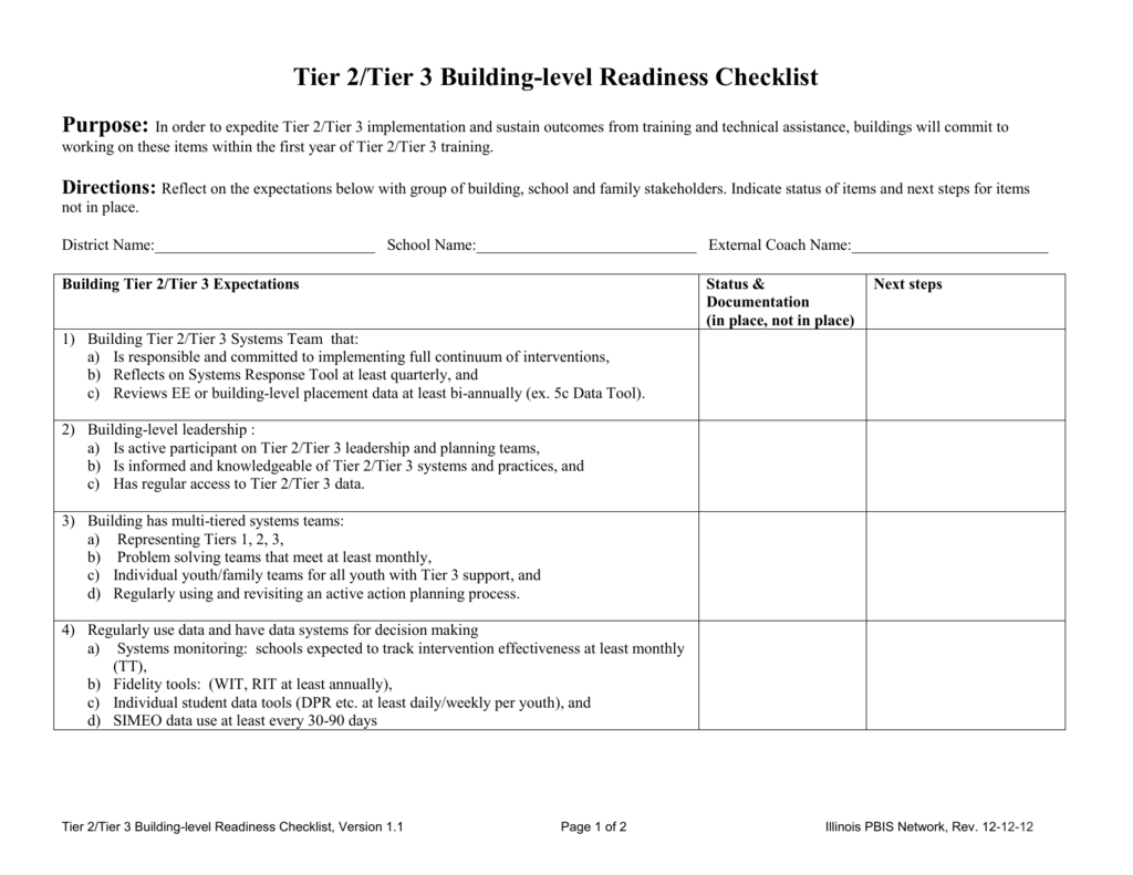 Tier 2/Tier 3 Building Level Readiness Checklist