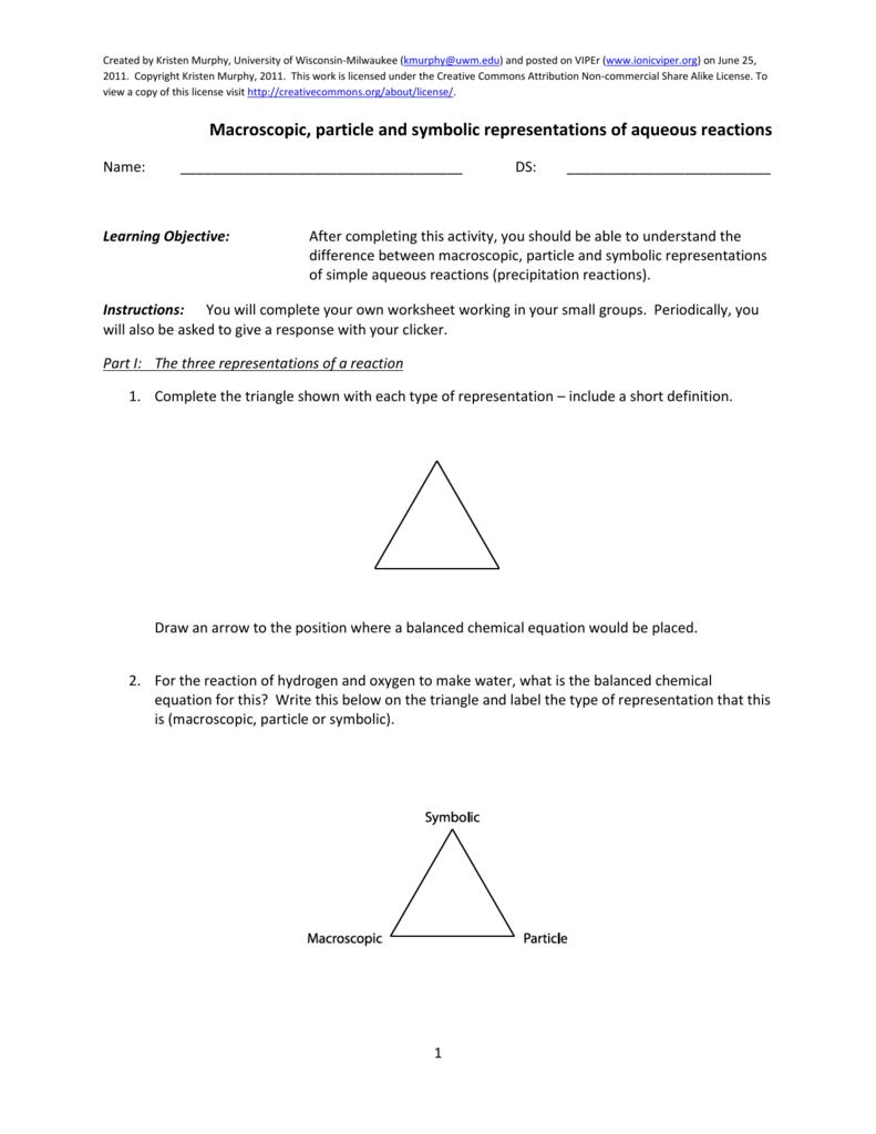 worksheet Precipitation Reaction Worksheet representations of aqueous reactions worksheet