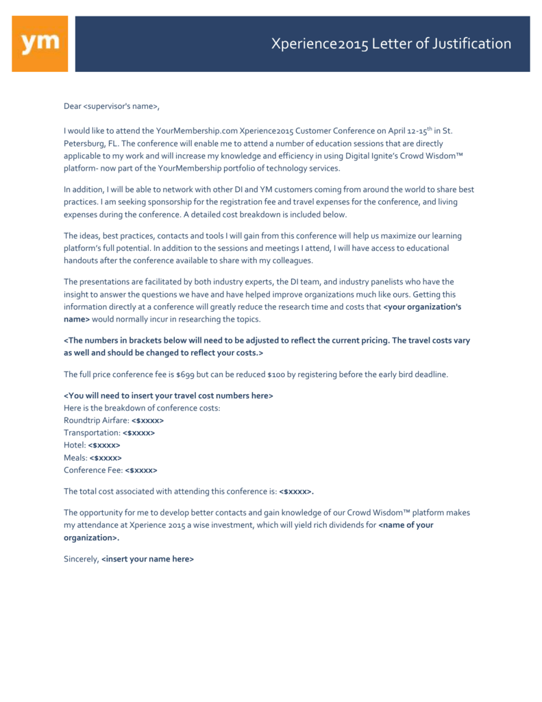 Xperience2015 Letter of Justification Xperience2015 Letter of