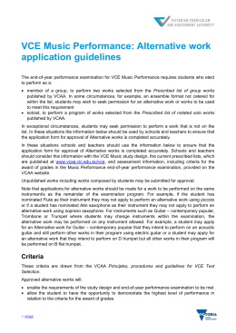 VCE Music Performance: Alternative work application guidelines