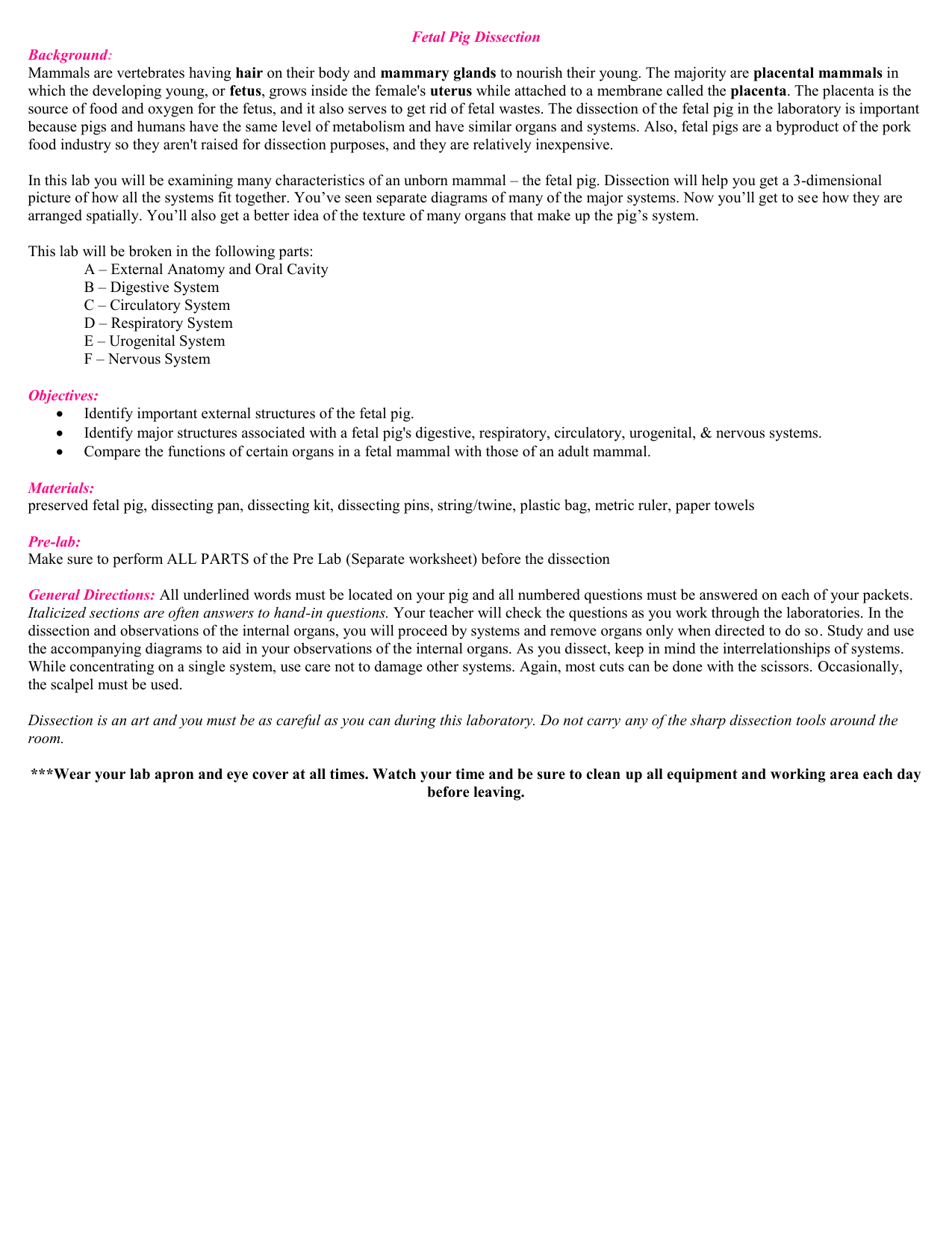 pig dissection lab report essay Lastly, i truly enjoyed the fetal pig lab page 1 of 2 the fetal pig was identified as a the fetal pigs that are used for dissection come from the.