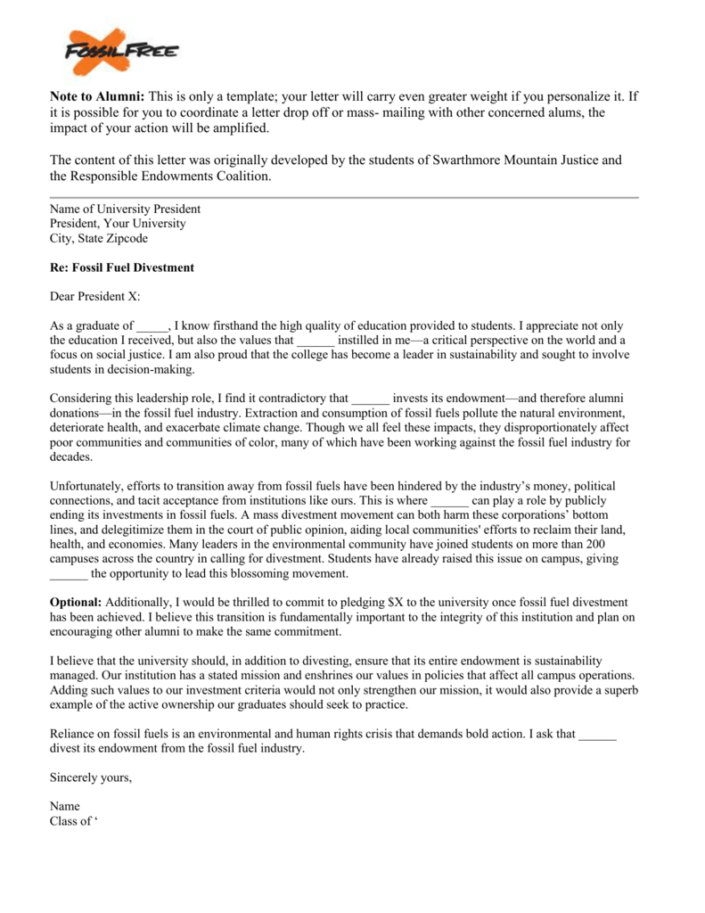 Sample Alumni Letter to President/Board of Trustees
