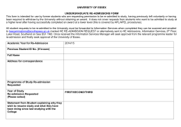 Re-admissions form - South Essex College