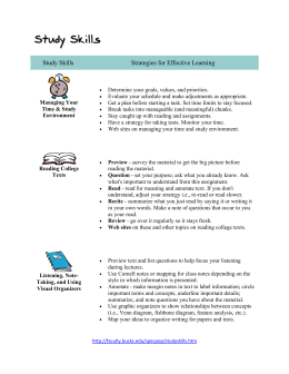 Study Skills Strategies for Effective Learning Managing Your Time