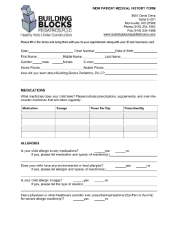 NEW PATIENT MEDICAL HISTORY FORM 3603 Davis Drive Suite