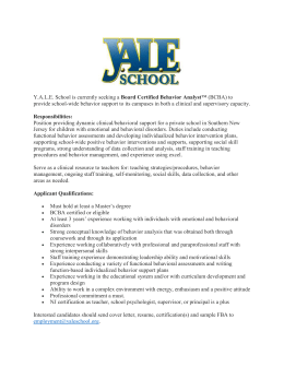 Y.A.L.E. School is currently seeking a Board Certified Behavior