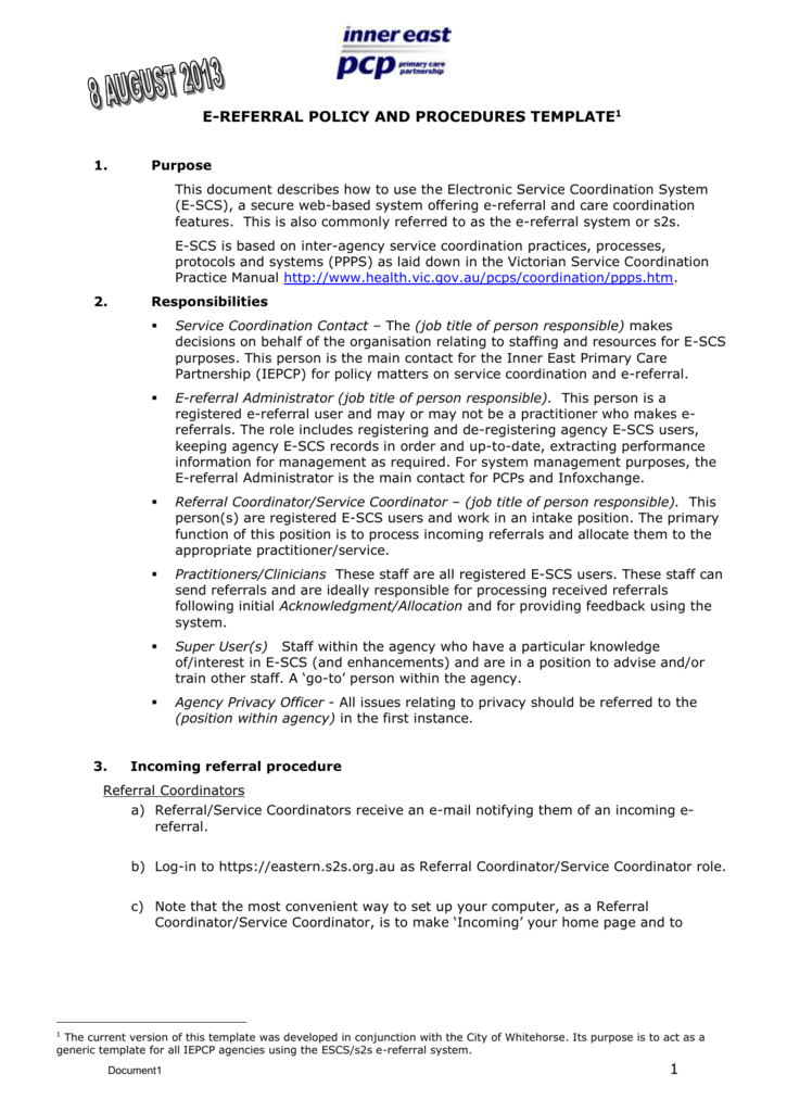 Policy And Procedures Template from s3.studylib.net
