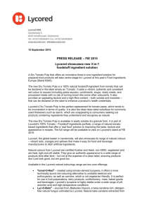 15 September 2015 PRESS RELEASE – FIE 2015 Lycored