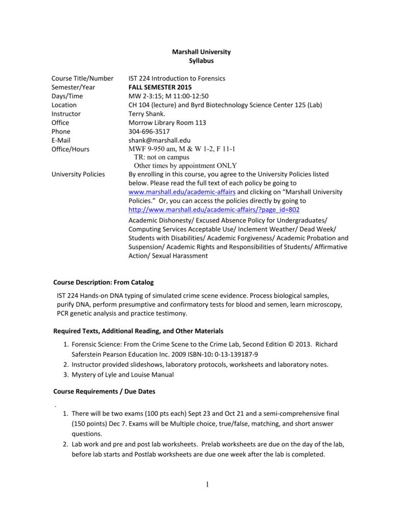 IST 224 MU BERT Marshall University – Forensic Science Worksheets