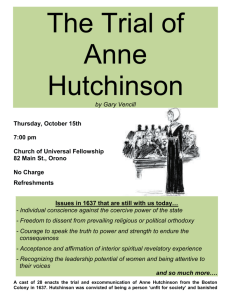 The Trial of Anne Hutchinson - The Church of Universal Fellowship