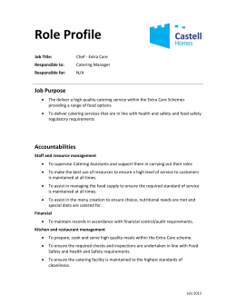 Extra Care: Chef – Role Profile.