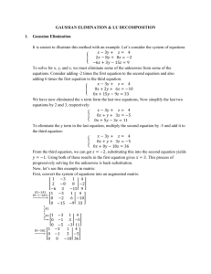 Gauss elimination, LU decomposition