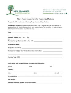 Title 1 Parent Request Form for Teacher Qualifications
