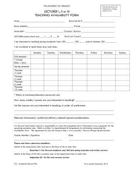 Microsoft Word - Teaching Availability Form.doc