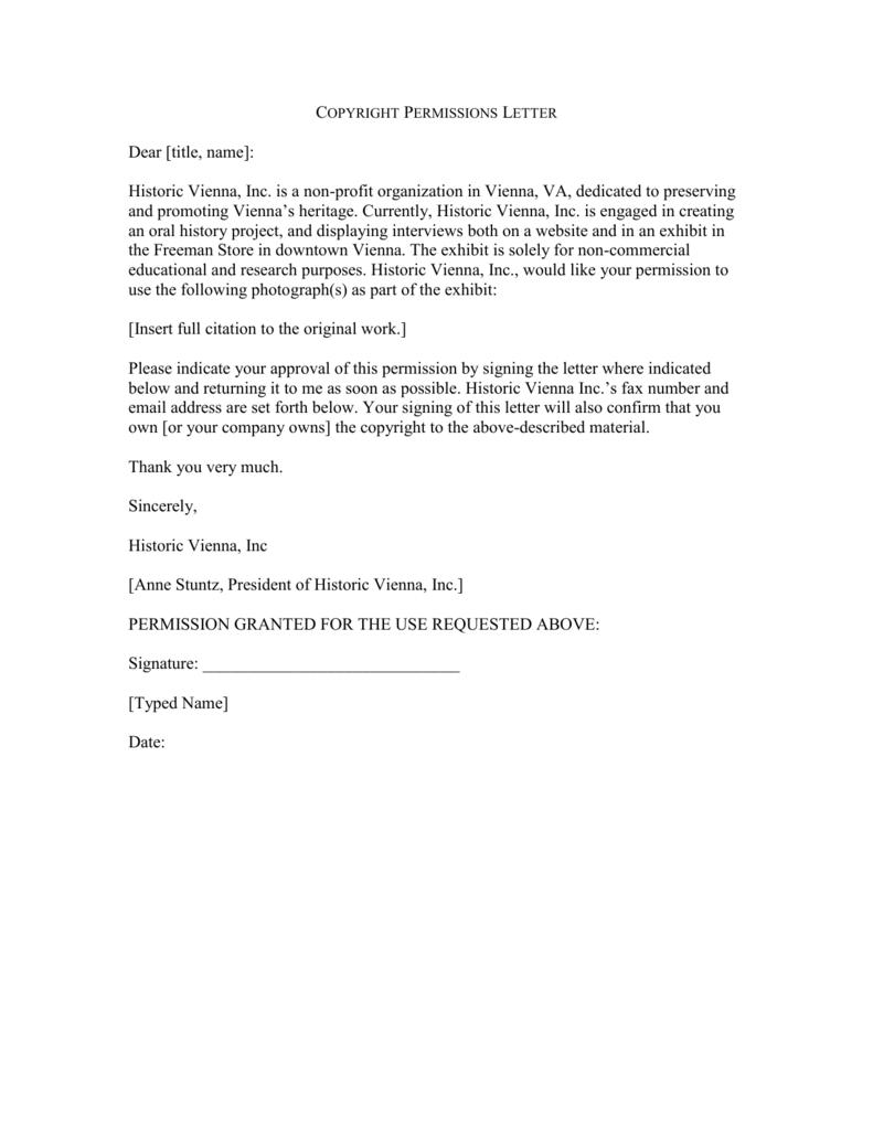 copyright permissions letter