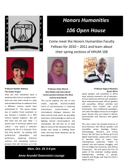 HHUM 106 Open House! Monday Oct. 25 3-4