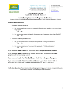 Fall 2014 – Language Education Policy Handout - CUNY