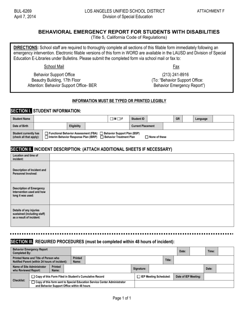 behavior emergency report for students with disabilities