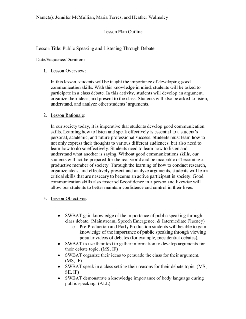 Public Speaking and Debate Lesson Plan Outline