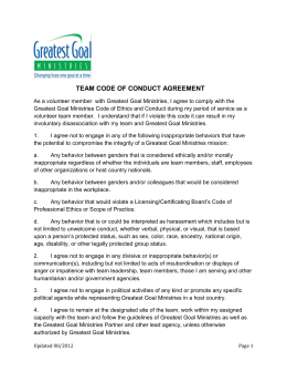 TEAM CODE OF CONDUCT - Greatest Goal Ministries