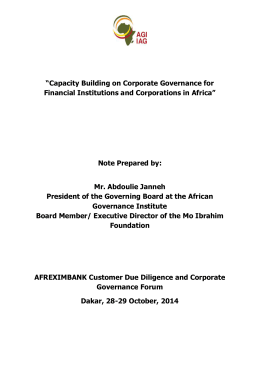 Capacity Building on Corporate Governance for Financial