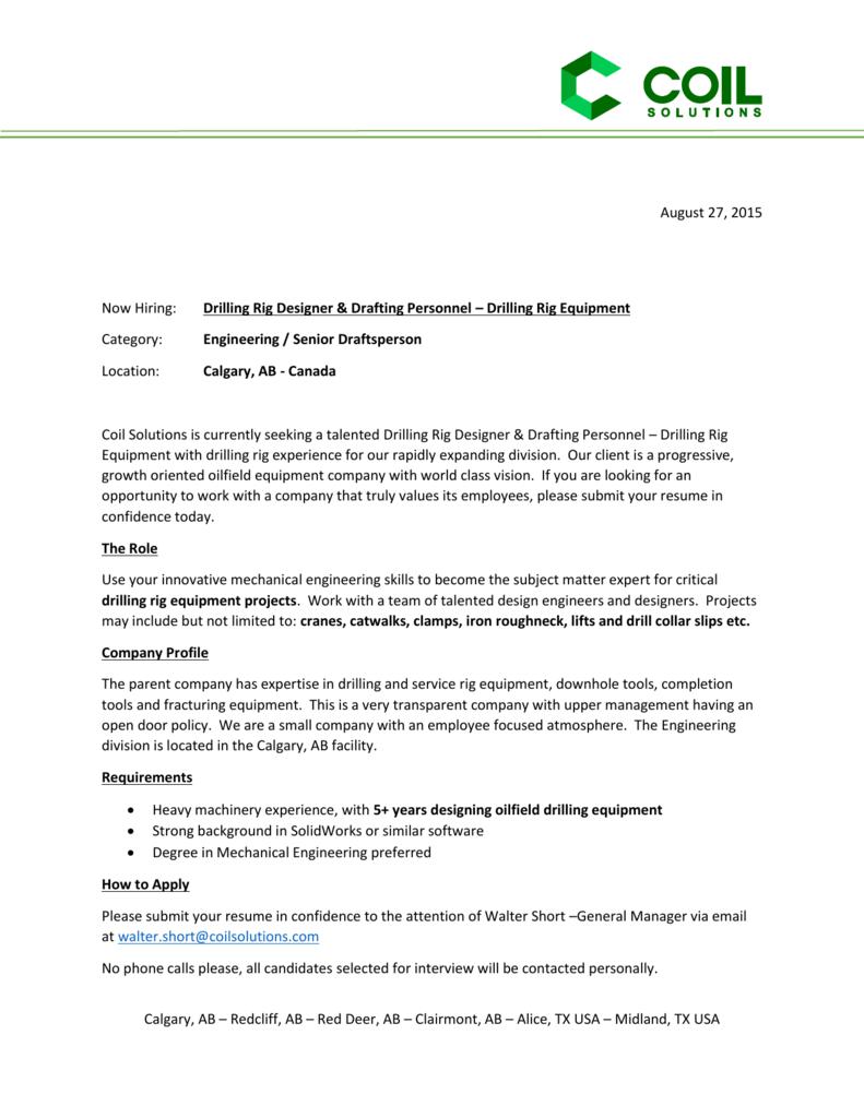 Drilling Rig Designer & Drafting Personnel