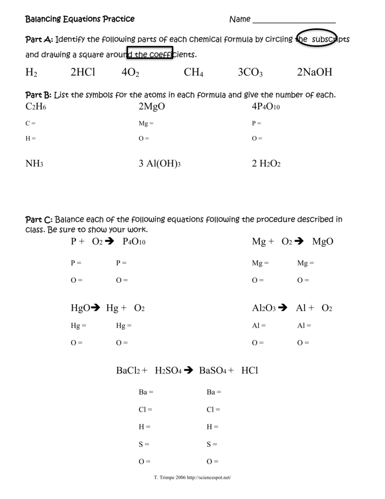 Balancing equations practice worksheet answers science spot part c