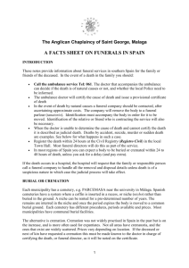Funerals in Spain: a facts sheet - Anglican Chaplaincy of Saint