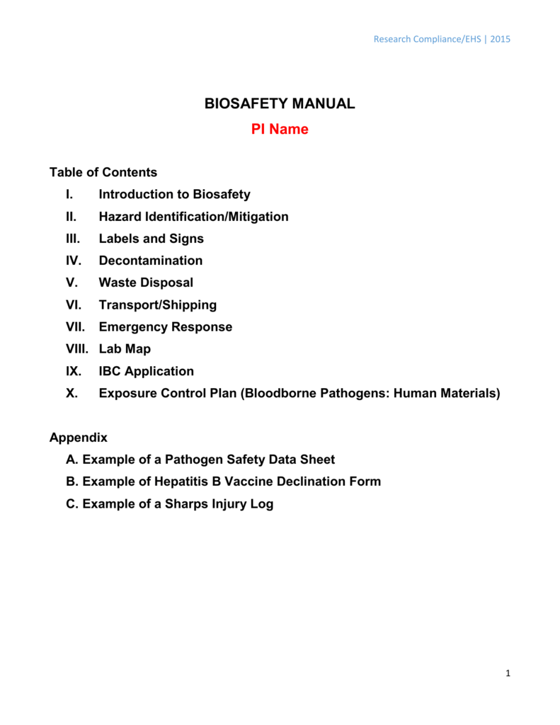 Biosafety Manual Template Environmental Health Safety