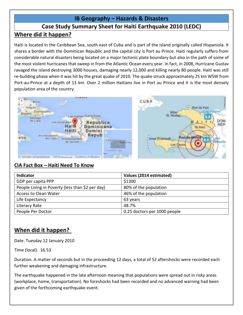 ledc earthquake case study haiti 2010