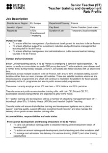 Recruitment Role Profite Senior Teacher Training
