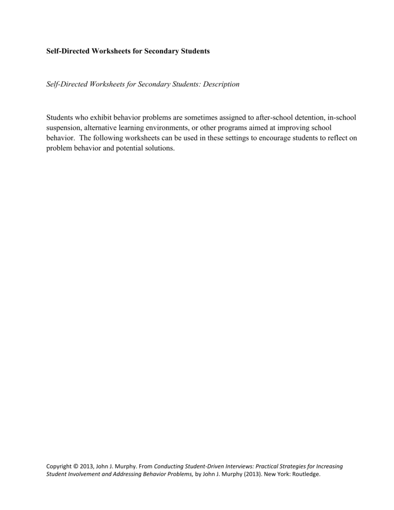worksheet Detention Worksheets For Students self directed worksheets