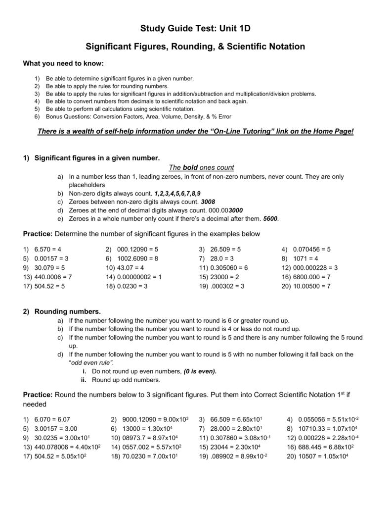 Unit 1d Significant Figures Rounding Scientific Notation