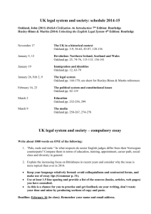 UK legal system and society: schedule 2014-15