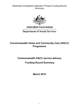 Commonwealth HACC service delivery