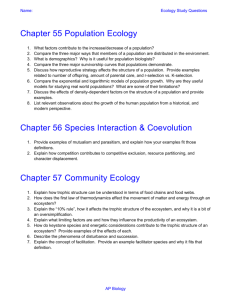 Name: Ecology Study Questions Chapter 55 Population Ecology