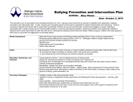 Bullying Prevention and Intervention Plan 2015-16