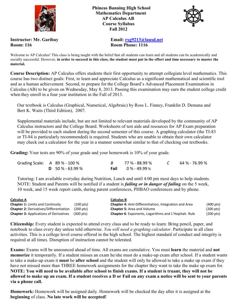 Phineas Banning High School Mathematics Department AP