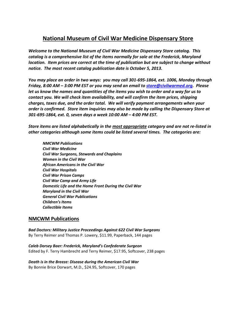 NMCWM Catalog (List Only) - National Museum of Civil War