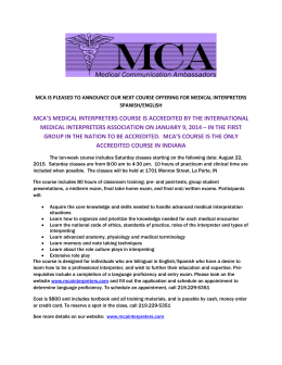 mca`s medical interpreters course is accredited
