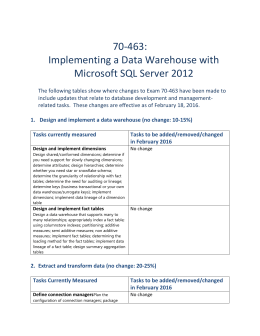 Design and implement a data warehouse (no change: 10