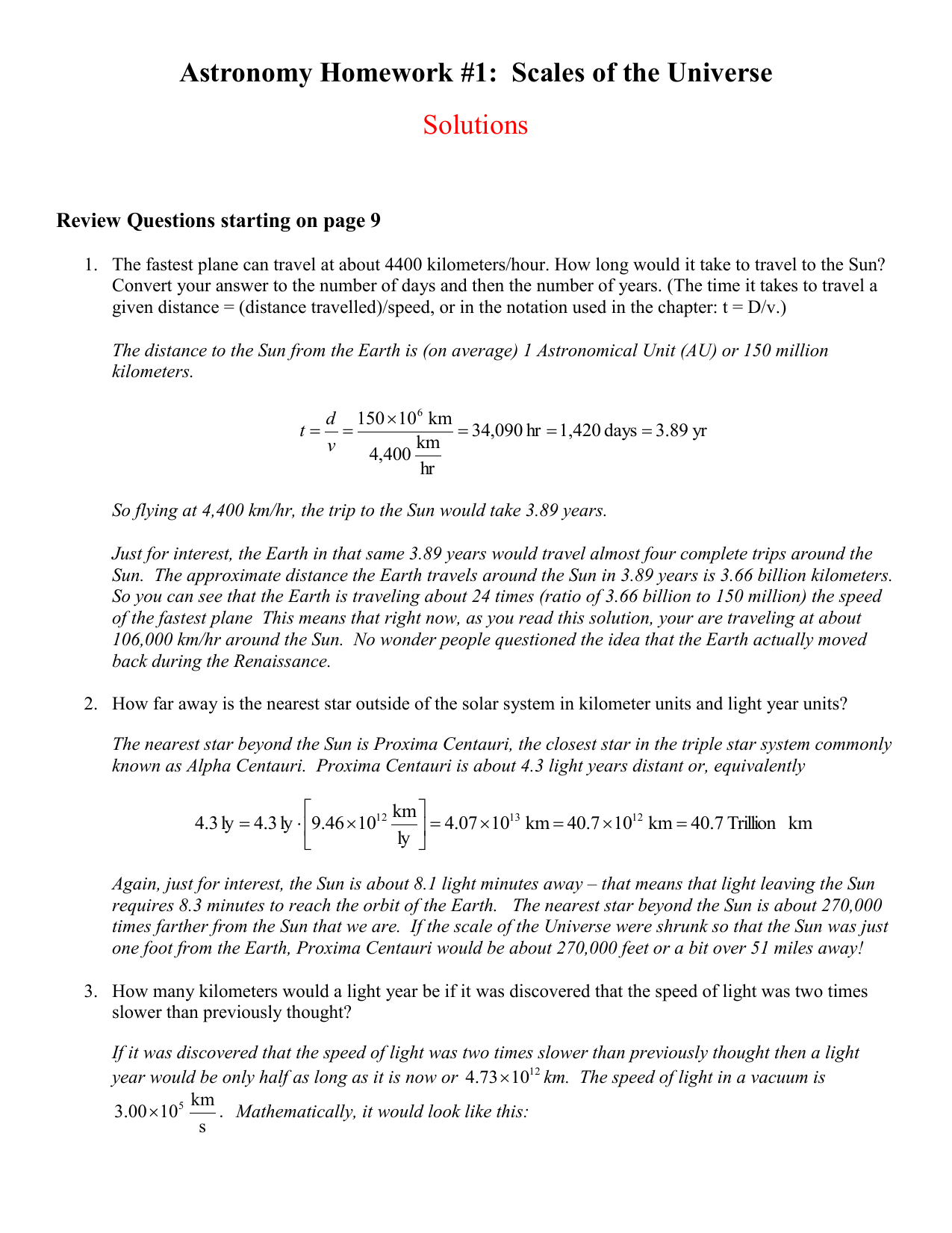 astronomy homework