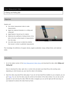 Student instructions for sliding and rolling ball
