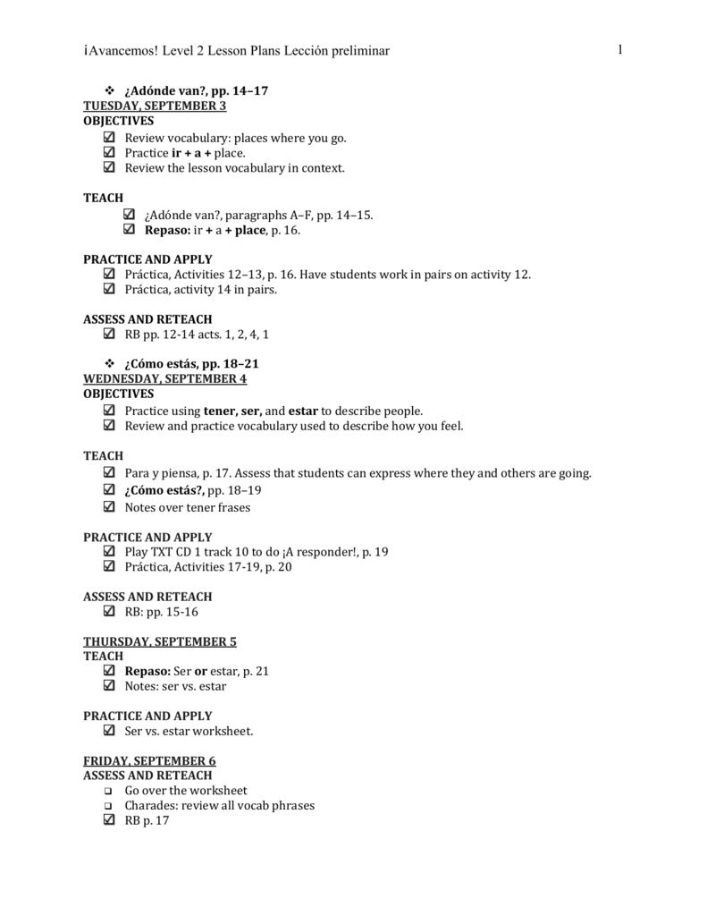 worksheet Tener Worksheet avancemos level 2 lesson plans preliminar van van