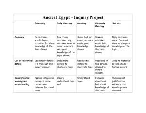 Ancient Egypt Assessment Rubric