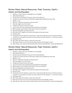 Review Sheet: Natural Resources, Plate Tectonics, Earth`s Interior