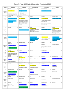 Term 3 - Year 12 Physical Education Timetable 2012 Week Monday