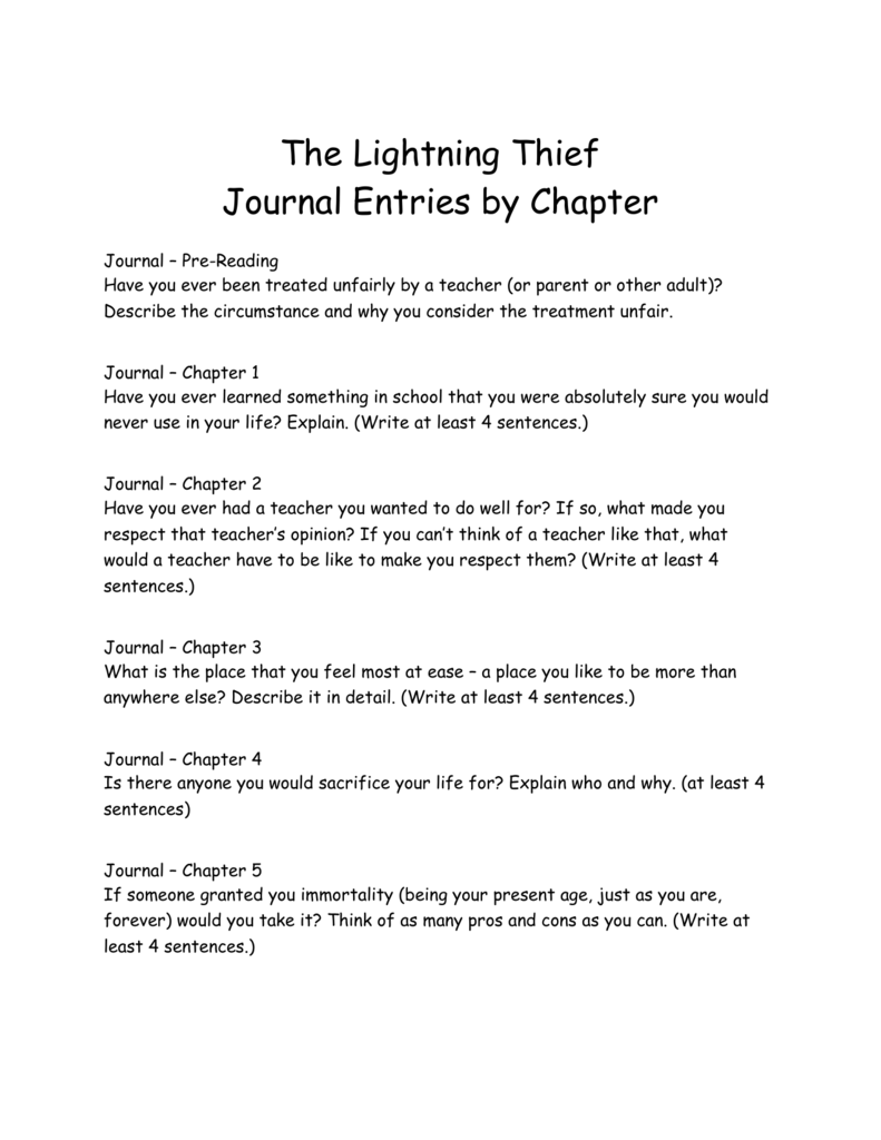 the lightning thief journal entries by chapter journal pre