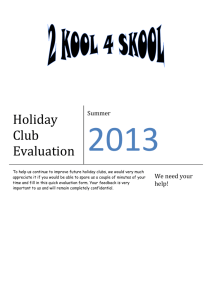Holiday Club Evaluation - Holly House Day Nursery
