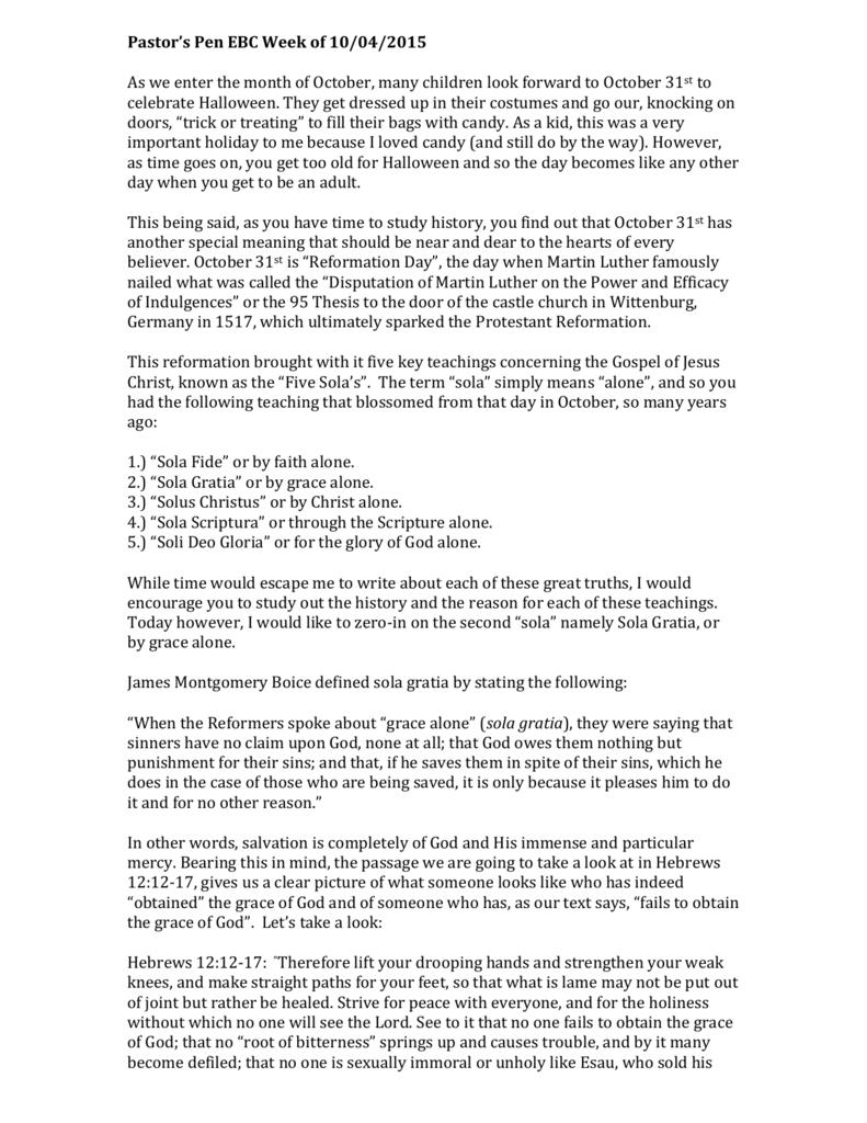 Pastor`s Pen EBC Week of 10/04/2015